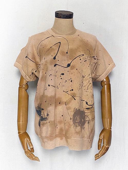 Natural Dyed Vintage Half Sleeve Sweatshirts w/ splash paint