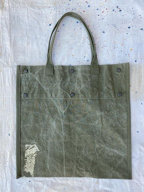 Upcycled Military Tote Bag w/ repair