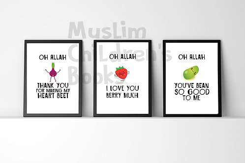Oh Allah cute and funny vegetable posters for kids. ONE for £6.99.