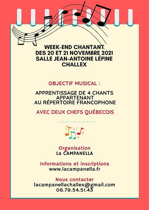Affiche weekend chantant Challex 2021