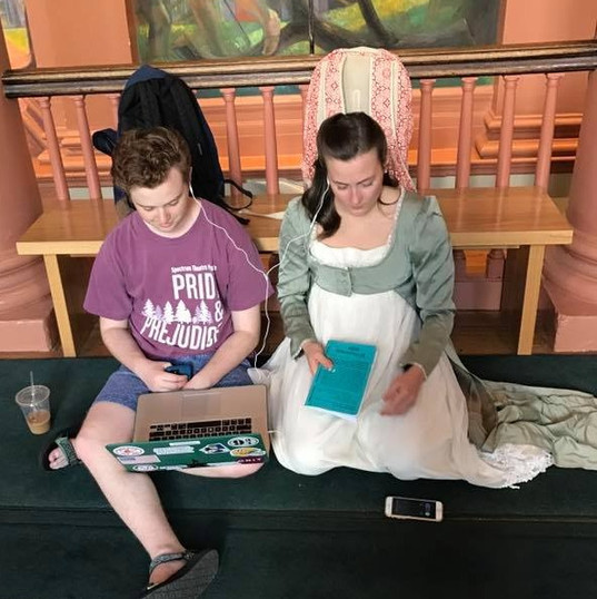 Mr. Collins and Elizabeth prep for the show