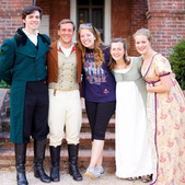 With Mr. Darcy, Mr. Bingley, Elizabeth, and Jane after a dress rehearsal!