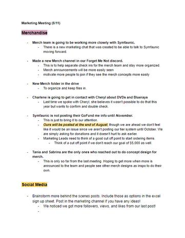 Marketing Meeting Notes