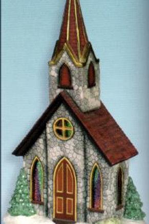 Scioto Church Window Scene w/Steeple