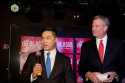 Mike Cheng with Mayor de Blasio