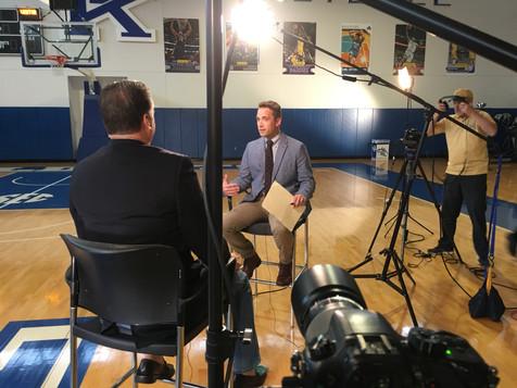 Interviewing UK's basketball coach