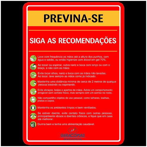 Placa recomendações contra corona Vírus