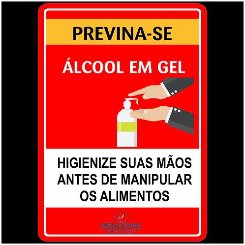 Placa Higiene e cuidado com as mãos com álcool Gel