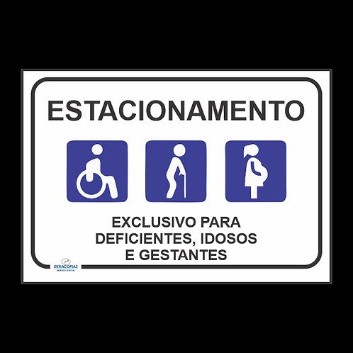 Placa estacionamento reservado Cadeirante-Idoso-Gestante