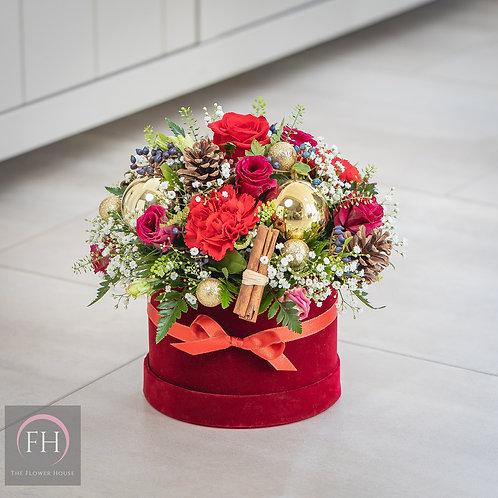 Christmas Red Velvet Hat Box