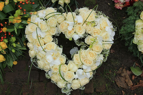 Heart Shaped sympathy or funeral flowers