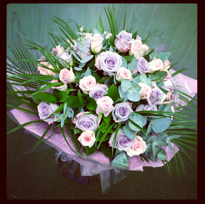 Pink and Lilac Rose Hand Tied Bouquet