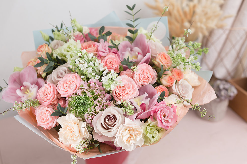 Close-up beautiful luxury bouquet of mix