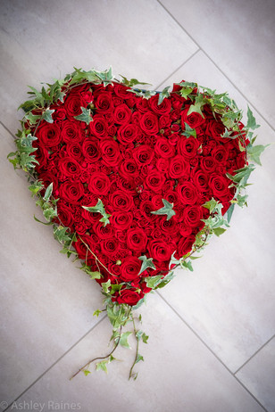 """17"""" All Red Rose Heart"""