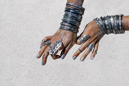 close up of beautiful tribal woman. Hand