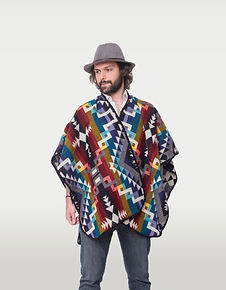 Colourful poncho made of alpaca by indigenous artisans in Ecuador