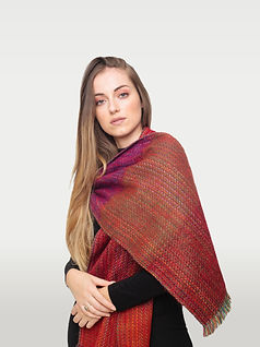 Hungarian girl wearing a red alpaca scarf made in Ecuador