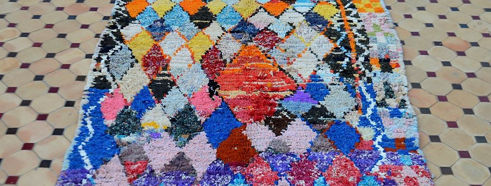 Handmade Vintage Multi-Colored Boucherouite Rug