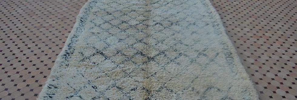 Handmade Vintage Beni Ouarain Rug with Fringe