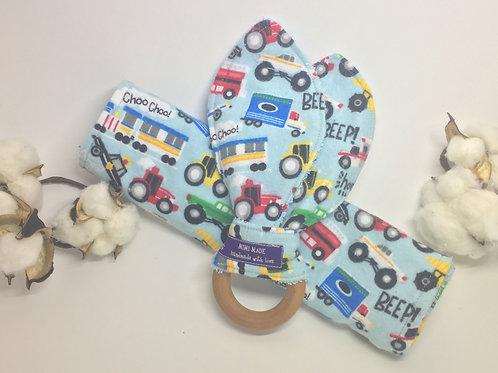 Rabbit Ear Teether & Burp Cloth