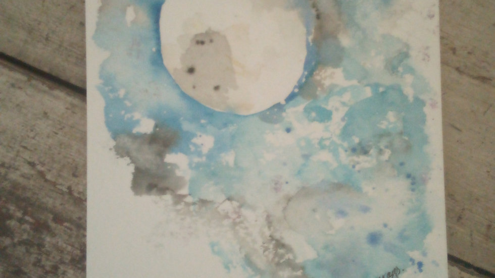 Watercolour Moon painting