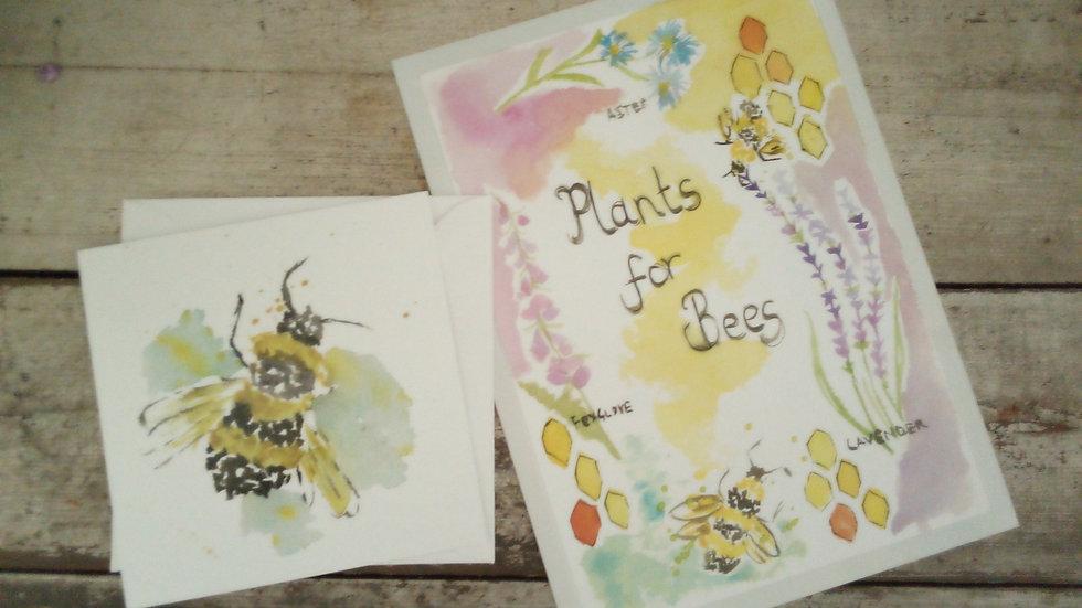 Bee print & card set