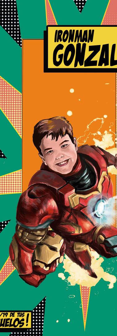 Caricatura de niño en forma de superhéroe I