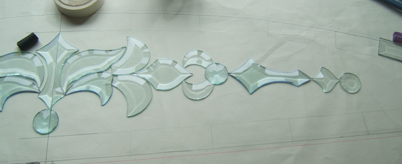 stained glass bevels free form design