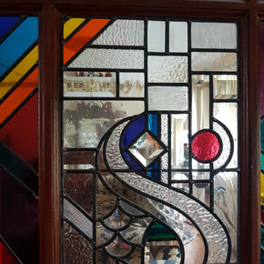 bevelled doors with fused glass