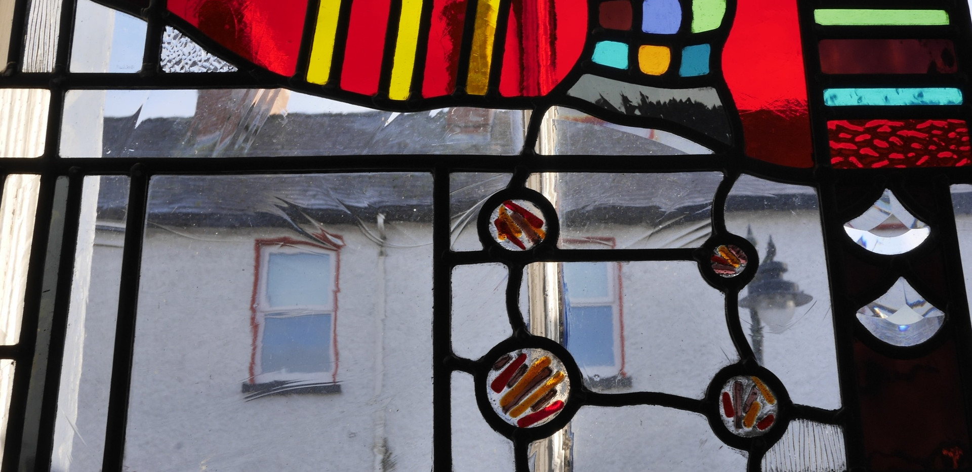 fused glass leaded into stained glass