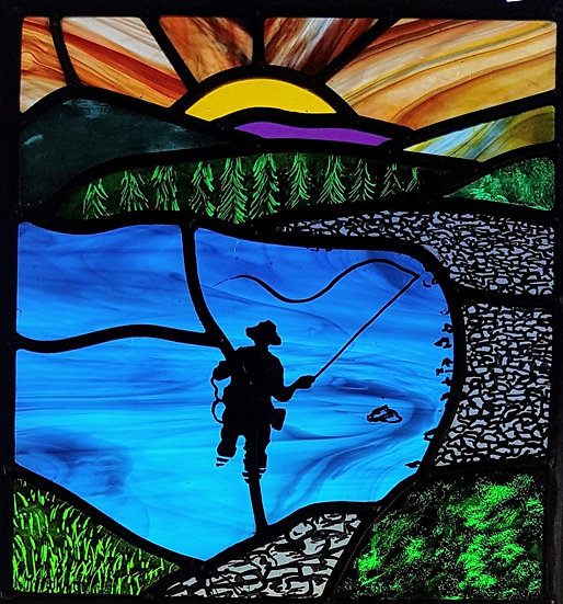 Fisherman stained glass panel