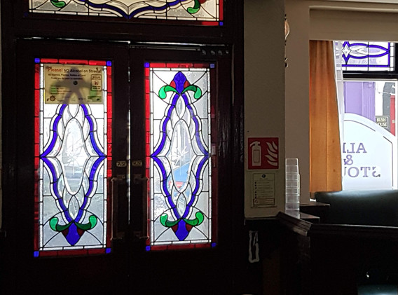 pub doors stained glass