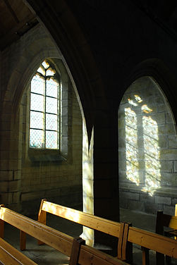 stained glass reflection in church