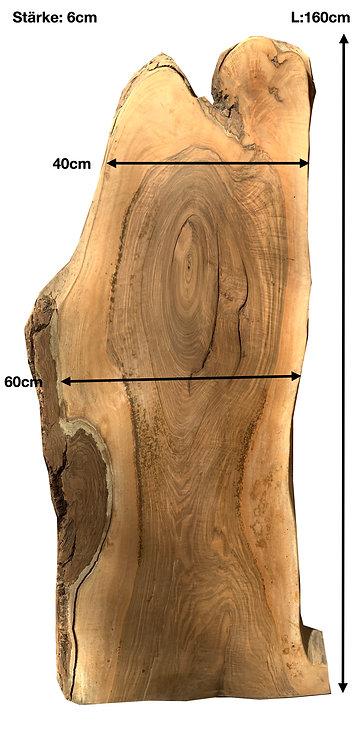 NUSSBAUM BAUMSCHEIBE TISCHPLATTE  TROCKENHOLZ 160x40/60x6cm