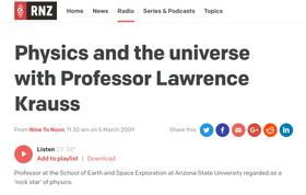 Radio New Zealand Nine to Noon Program, on the Universe