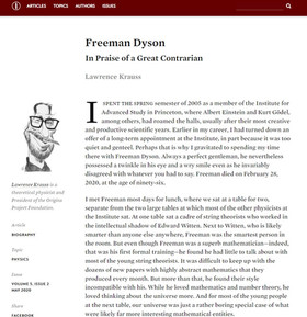 Lawrence Krauss pays tribute to Freeman Dyson in Inference