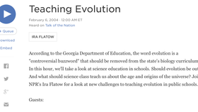 Science Friday with Ira Flatow: Teaching Evolution