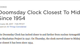 Doomsday Clock Closest To Midnight Since 1954