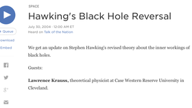 Science Friday with Ira Flatow: Hawking's Black Hole Reversal