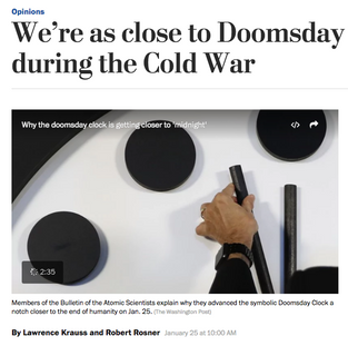 We're as close to Doomsday today as we were during the Cold War