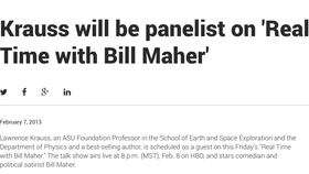Krauss will be panelist on 'Real Time with Bill Maher'