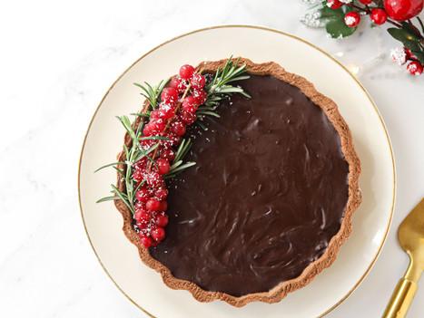 Tarte Vegan de Natal de Chocolate e Especiarias