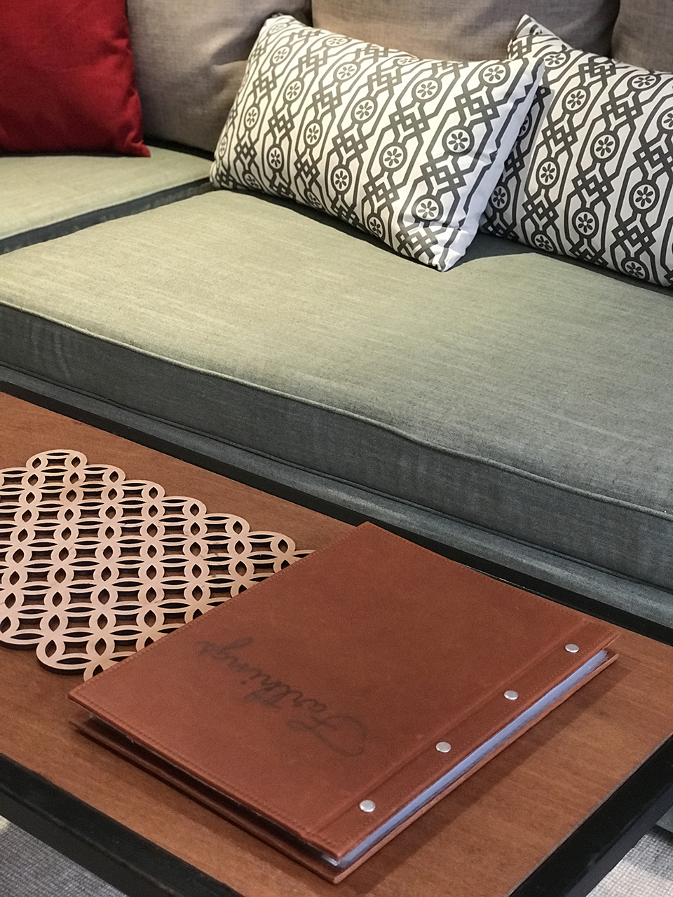 Information folder on coffee table
