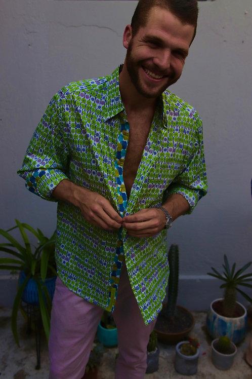 robert graham green print shirt