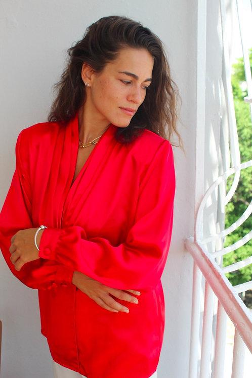 red silky vintage top