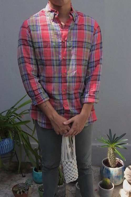 massimo dutti red plaid shirt
