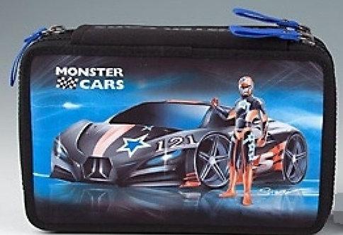 Monster Cars Pencil Case Triple
