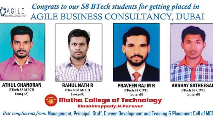 Congrats to our S8 B.Tech Students for getting placed in Agile Business Consultancy, Dubai.
