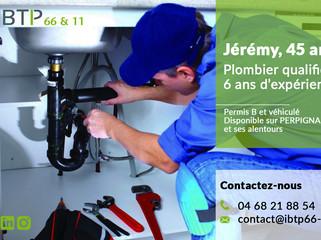 Jérémy, plombier qualifié, disponible dans le 66 !