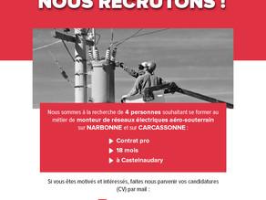 Aude : CONTRAT PRO pour 4 monteurs-réseaux aéro-souterrain !